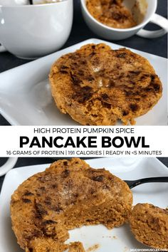 quick and easy breakfast or snack recipe. One protein pancake bowl has 16 gram. - A quick and easy breakfast or snack recipe. One protein pancake bowl has 16 grams of protein, only -A quick and easy breakfast. Protein Muffins, Protein Cake, Kodiak Protein Pancakes, Protein Oatmeal, Protein Cookies, Chip Cookies, Pumpkin Spice Pancakes, Keto Pancakes, Healthy Protein Snacks