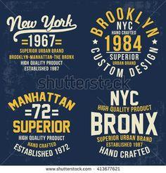New York, Brooklyn, Manhattan, Bronx college vector print set for t shirt graphic.