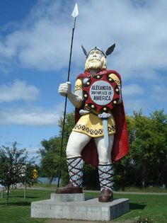 Largest Viking - Alexandria, MN. Weighing in at an impressive 12,000 lbs and standing 28 feet tall, this Nordic Viking represents the population of the descendants of Nordics who settled in the state of Minnesota.
