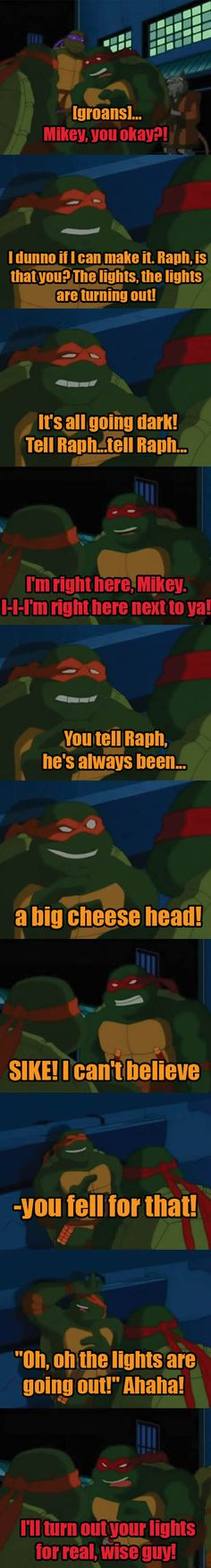 Mikey and Raph, awww! he loves him........oh.......then hates him, typical.