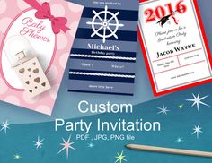 Order EPERSONALIZED #Party #Invitation - show your guests how special they are.  No matter what party you are preparing , make a memorable party. An personalized INVITATION will make the best first impression. You can choose a color (any combination you want), the size, font style and of course of the message you want to emphasize.   color: any color you want   INVITATION size : 4 x6 in or 5x7 in Choose the size of the invitation that work the best for you.