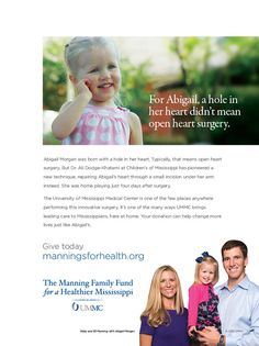 The Manning Family Fund for a Healthier Mississippi, Eli and Abby Manning with heart patient Abigail, v.3 (Oct. 2015)