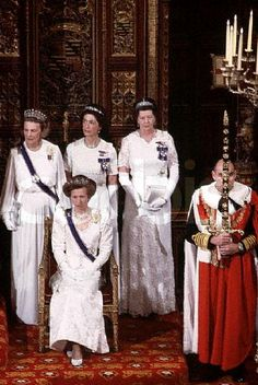 Princess Anne, wearing the diamond festoon tiara, at the State Opening of Parliament, circa 1983.