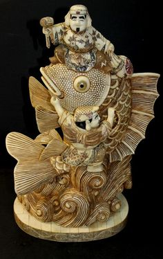 "Large Japanese Carved Hippo Bone Koi Fish Group. Measures - 21"" high x 12 1/2"" wide."