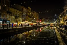 New Year's Eve in Navigli Milan Milan Italy, Urban Exploration, Photography Portfolio, New Years Eve, Christmas Lights, Places To Go, Street View, Europe, Explore