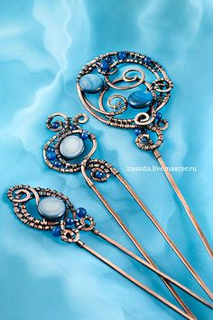 """""""Celestial sphere"""" Copper hairpins with agate and mother of pearl 