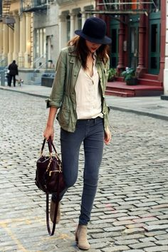 olive jacket white shirt hat jeans ankle boots