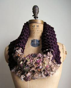 Bohemian knit cowl Plum Persimmon Lime by Happiknits on Etsy, $60.00
