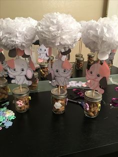 Elephant theme baby shower its a girl babyshowernia ambers baby shower elephant center piece negle Choice Image