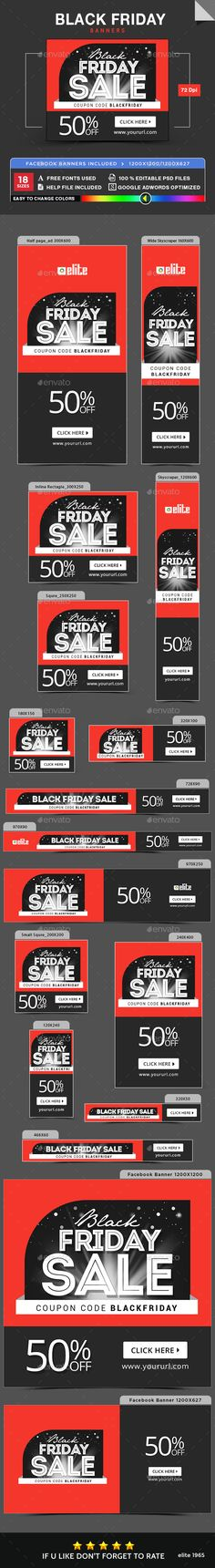 Black Friday Banner Design Ads Template - Banners & Ads Web Elements Banner PSD Template. Download here: https://graphicriver.net/item/black-friday-banners/18711906?ref=yinkira