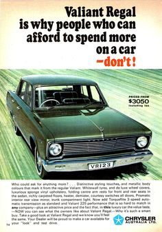 1967 Chrysler Valiant Regal ~ Australia 🇦🇺 Australian Vintage, Australian Cars, Vintage Advertisements, Vintage Ads, Chrysler Valiant, Aussie Muscle Cars, Chrysler New Yorker, Van Car, Car Brochure