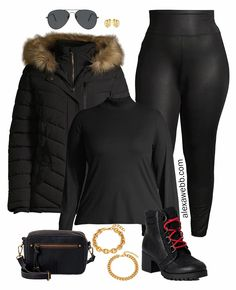 Plus size faux leather leggings outfit ideas from Walmart with a puffer jacket and hiker boots or jacquard cardigan and sherpa booties. Leather Leggings Outfit, Spanx Faux Leather Leggings, Casual Fall Outfits, Cute Outfits, Casual Wear, Burberry Crossbody Bag, Plus Size Capsule Wardrobe, Faux Fur Hooded Jacket, Ponte Leggings