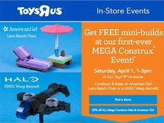 FREE American Girl & Halo Mini-Builds at Toys R Us