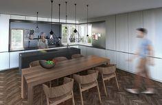 První návrh počítá s vařením čelem do místnosti; Ateliér Under-construction
