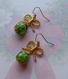 Christmas Tree Ornamentsgreen glass earrings by MarteenysJewelry, $15.00