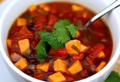 A healthy delight.  Black bean & Sweet Potato with some spice!