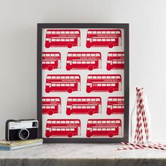 London Bus Screen Print by Victoria Eggs