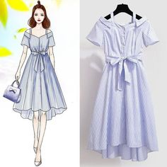 Airboat Neck French Style Striped Belt Elegant Dress – Miracles from Nature 70s Fashion, Cute Fashion, Asian Fashion, Look Fashion, Girl Fashion, Paper Fashion, Fashion Art, Fashion Drawing Dresses, Fashion Illustration Dresses