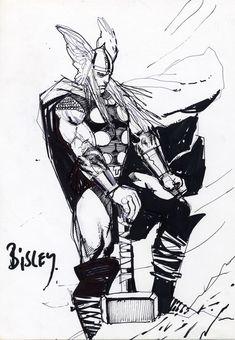 Simon Bisley Comic Art - Thor Sketch (SOLD) Comic Art