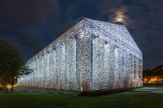 Architectural works steal the show at Documenta 14. Seen here: A full-scale reproduction of the Athenian Parthenon that has been constructed of wire in Kassel's Friedrichsplatz square by the Argentinian artist Marta Minujin. (Courtesy Documenta)