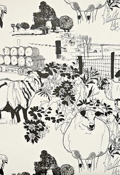 Sheep Wallpaper A cream wallpaper with ink illustrations of sheep and other countryside scenes.