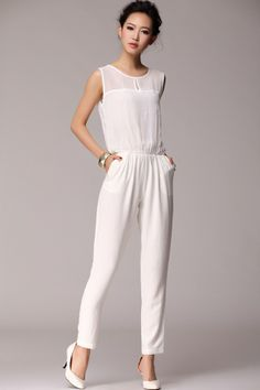 1861368afece Sheer Yoke Sleeveless Jumpsuits - OASAP.com All White Outfit