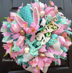 Easter Deco Mesh Wreath - Easter Front Door Wreath - Easter Mesh Wreath - Bunny Hat Wreath - Deco Mesh Wreath - Mesh Wreath - Easter Bunny