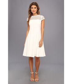 Aline w crichet s l top dress cream, Calvin Klein Illusion Dress, Illusion Neckline, Calvin Klein Dress, Fit And Flare, White Dress, Stylish, My Style, Lace, Pretty