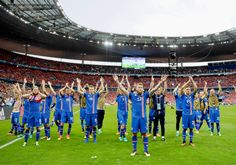 Iceland players celebrate reaching the last 16 of Euro 2016, for... - http://euro2016.abafu.net/football/iceland-players-celebrate-reaching-the-last-16-of-euro-2016-for