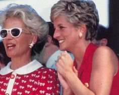 July 3, 1994: Princess Diana with Princess Michael of Kent in the Royal box on centre court for the men's singles final between Pete Sampras and Goran Ivanisevic at Wimbledon.