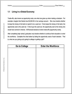 Worksheets High School Economics Worksheets the office home and economics on pinterest living in a global economy chart worksheet student handouts