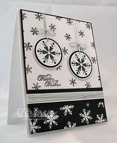 black & white with a touch of silver . Winter Christmas, Christmas Ideas, Endless Wishes, Card Making Inspiration, Craft Business, Paper Goods, Blue And Silver, Cas, Handmade Cards