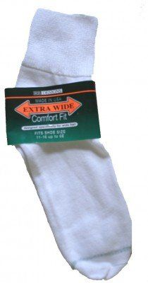 Extra Wide Quarter Sock Available In White Or Black #8600