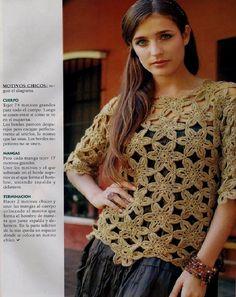 Jersey media manga de flores 6 petalos - Patrones Crochet