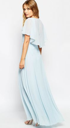 95eac57e54879 Customize short sleeves v neck light sky blue chiffon long bridesmaid dress  from Online Store Aless Mode