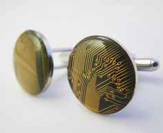 Circuit Board Cufflinks by Amanda Preske