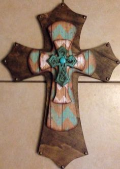 Large Turquoise Chevron Print Wood Cross by SignsBYDebbieHess, $45.00