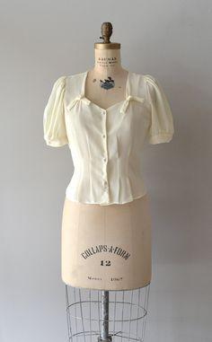 cream blouse / cream chiffon blouse / Twin Bows blouse