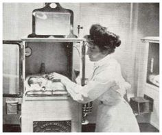 Baby Incubators - There were24 `modern'incubatorsshown in this exhibit.Each machine was an air-tight silver-framed glass box. Hot air was pumped underneath the floorboards to keep the room's temperature constant. By artificial means (which included regulation of oxygen and ventilation), the incubator helped an immature and feeble infant,  acclimatize to the outside world.