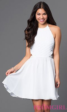 White Short Halter Dress with Sequin Bodice at PromGirl.com