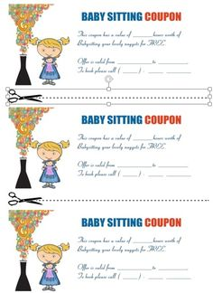 Printable Babysitting Coupon  Gifts    Gift Free