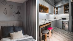 From having invisible cabinets to showcasing smart furniture picks, this tiny bachelor pad home inspires us to declutter and revamp our own space Small Studio Apartment Design, Studio Condo, Tiny Studio Apartments, Condo Interior Design, Studio Apartment Layout, Condo Design, Studio Apartment Decorating, Small Room Design, Studio Living