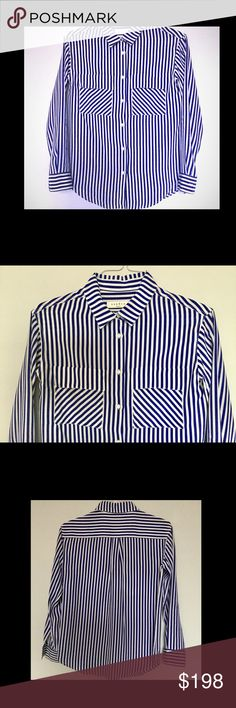 SANDRO Paris silk button down shirt Sandro 100% silk, striped button down shirt  Worn a couple times only, like new White & blue/purple stripes Front pockets Wear it either with jeans or with pants suits - equally impressive.. Designer size 2 - which is equivalent to M Sandro Tops Button Down Shirts