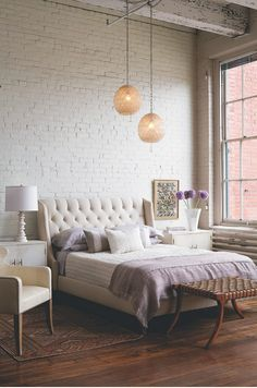 Gorgeous bedroom with white painted brick walls