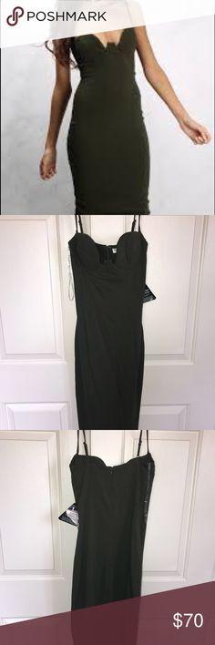 Rare London Khaki Strappy Bodycon Dress S Rare London Khaki Strappy Bodycon Dress S. US size 4. Jungle green color Rare London Dresses Midi