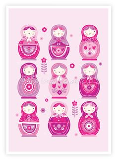 SWEET BABUSHKA Print A4 matryoshka russian nesting by TheInkHouse