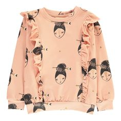 Soft Gallery Lane Ruffled Sweatshirt Pink