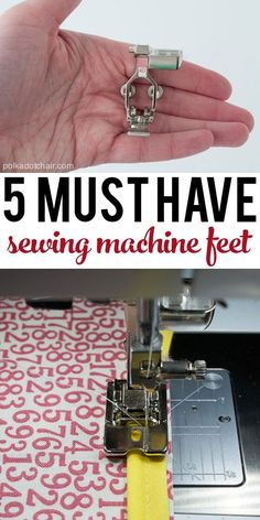 The Best Sewing Tips and Tricks - The Polka Dot Chair 5 MUST Have Sewing Machine Feet (and a simple explanation of what each one does) If you really like arts and crafts you will love our info! Sewing Tools, Sewing Hacks, Sewing Tutorials, Sewing Crafts, Sewing Ideas, Sewing Lessons, Serger Sewing, Diy Crafts, Sewing Notions