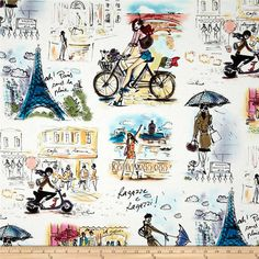 Who's That Girl Paris Collage White from @fabricdotcom  Designed by Izak Zenou for Robert Kaufman, this cotton print is perfect for quilting, apparel and home decor accents.  Colors include white, black, grey, blue, pink, purple, olive, coral, green, red and shades of brown.