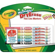 Crayola 6 Pack Washable Dry Erase Markers